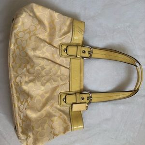 Authentic Coach Yellow Handbag Purse